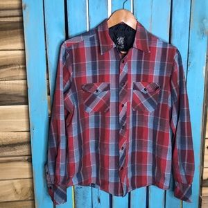 Hurley Snap button long sleeve plaid shirt M lined